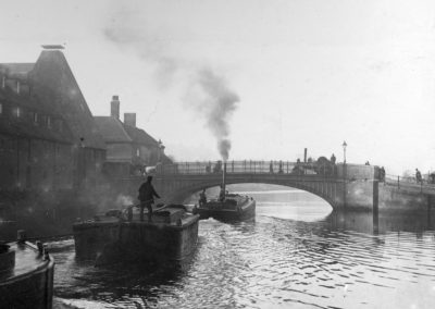 Stoke Bridge and barges