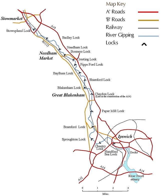 River Gipping map and key