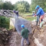 September 2015 Placing the gabions at Pipps Ford