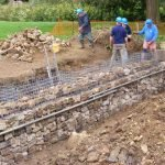 October 2015 Filling gabions with recovered concrete